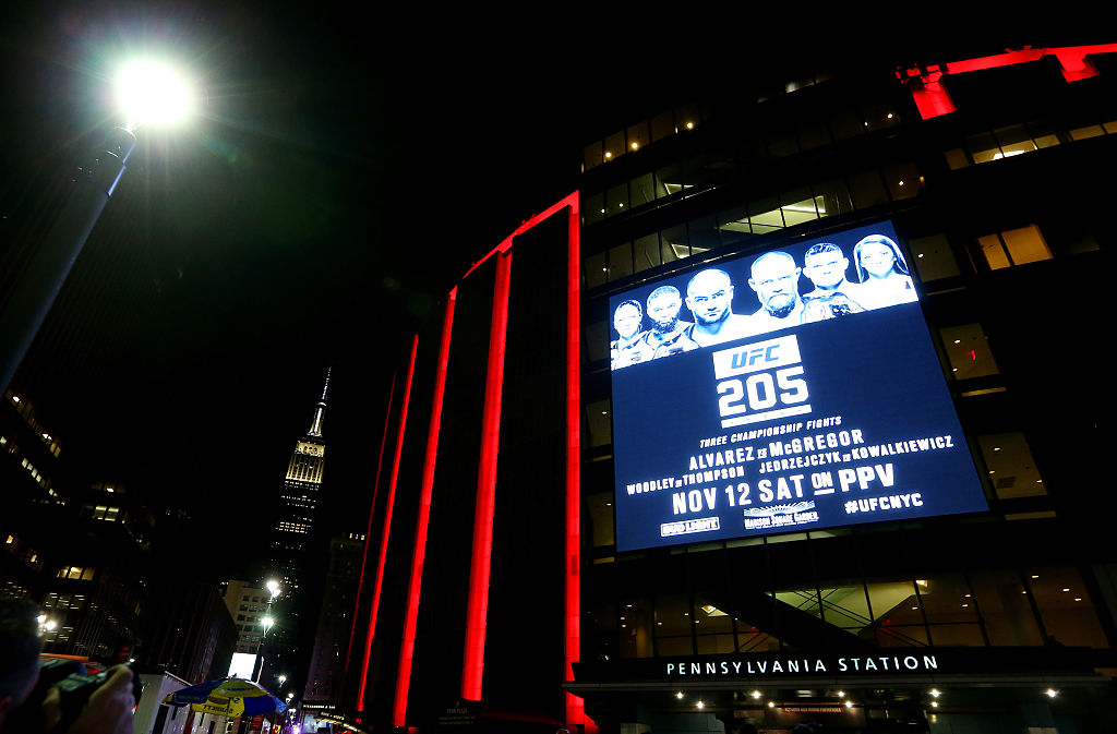 NEW YORK, NY - NOVEMBER 12:  A general view of the exterior of Madison Square Garden is seen during the UFC 205 event at Madison Square Garden.  (Photo by Ed Mulholland/Zuffa LLC)