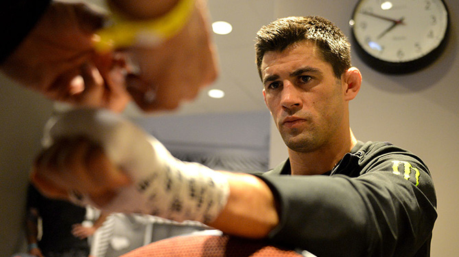 INGLEWOOD, CA - JUNE 04: Dominick Cruz prepares before his fight against Urijah Faber during the UFC 199 event at The Forum. (Photo by Brandon Magnus/Zuffa LLC)