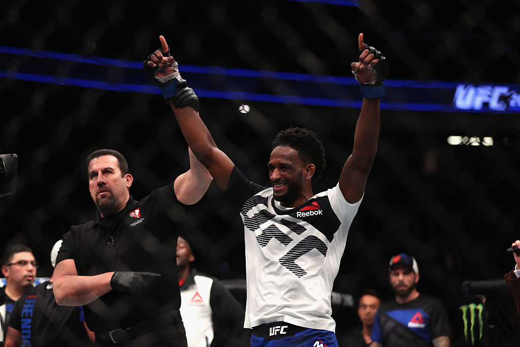 Neil Magny reacts to his victory over Johny Hendricks. (Photo by Christian Petersen/Getty Images)