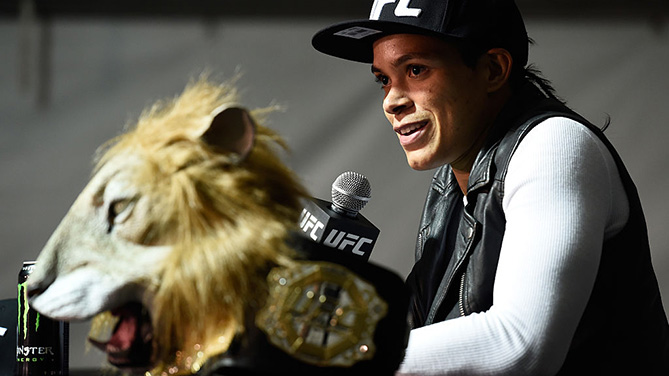 LAS VEGAS, NV - DEC. 30: UFC women's bantamweight champion Amanda Nunes speaks to the media after the UFC 207 event inside T-Mobile Arena. (Photo by Brandon Magnus/Zuffa LLC)