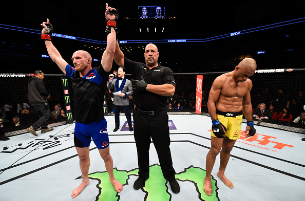 Ryan LaFlare celebrates a victory over <a href='../fighter/Roan-Carneiro'>Roan Carneiro</a> at UFC 208