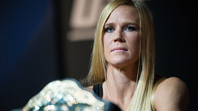LAS VEGAS, NV - MARCH 3: Former UFC bantamweight champion Holly Holm speaks to the media during the UFC 196 Press Conference at David Copperfield Theater in the MGM Grand Hotel/Casino. (Photo by Brandon Magnus/Zuffa LLC)