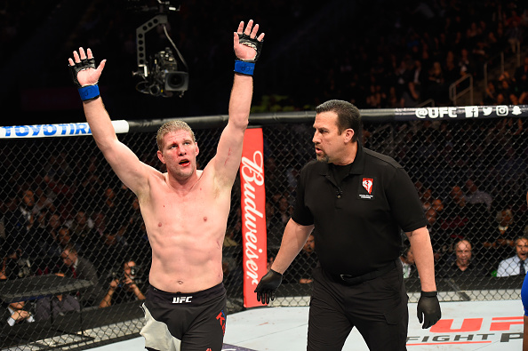 Kelly celebrates after defeating <a href='../fighter/Rashad-Evans'>Rashad Evans</a> at UFC 209