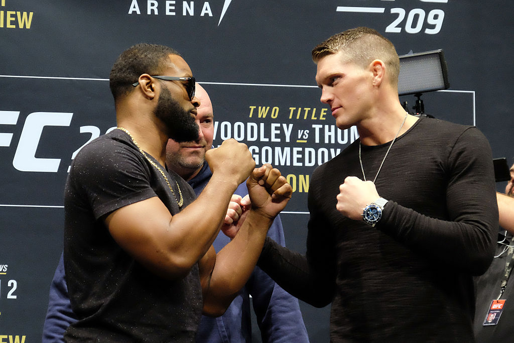LAS VEGAS, NV - JANUARY 19: (L-R) UFC Welterweight Champion Tyron Woodley and No. 1 UFC welterweight contender Stephen Thompson face off during the UFC 209 Ultimate Media Day event inside The Park Theater on January 19, 2017 in Las Vegas, Nevada. (Photo by Juan Cardenas/Zuffa LLC)
