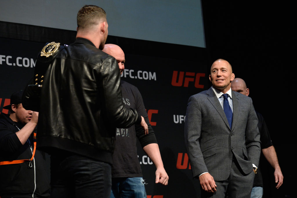 LAS VEGAS, NV - MARCH 03: (R-L) George St-Pierre and UFC middleweight champion Michael Bisping the UFC press conference at T-Mobile arena on March 3, 2017 in Las Vegas, Nevada. (Photo by Brandon Magnus/Zuffa LLC)