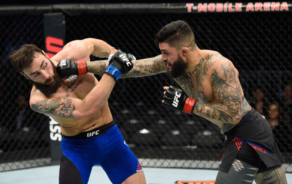 LAS VEGAS, NV - MARCH 04: (R-L) Tyson Pedro of Australia punches Paul Craig of Scotland in their light heavyweight bout during the UFC 209 event at T-Mobile Arena on March 4, 2017 in Las Vegas, Nevada.  (Photo by Josh Hedges/Zuffa LLC)