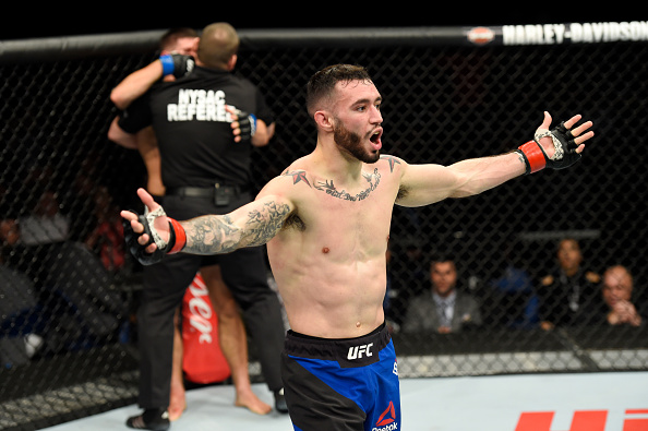 Shane Burgos celebrates after defeating Charles Rosa at UFC 210