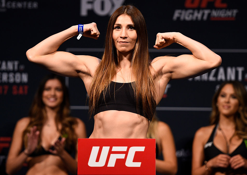 SACRAMENTO, CA - DECEMBER 16: Irene Aldana of Mexico poses on the scale during the UFC Fight Night weigh-in inside the Golden 1 Center Arena on December 16, 2016 in Sacramento, California. (Photo by Jeff Bottari/Zuffa LLC)
