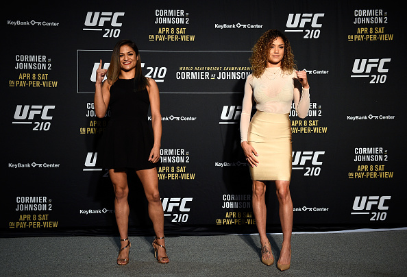 Pearl Gonzalez (right) and Cynthia Calvillo (left) pose at UFC 210 Media Day in Buffalo, NY