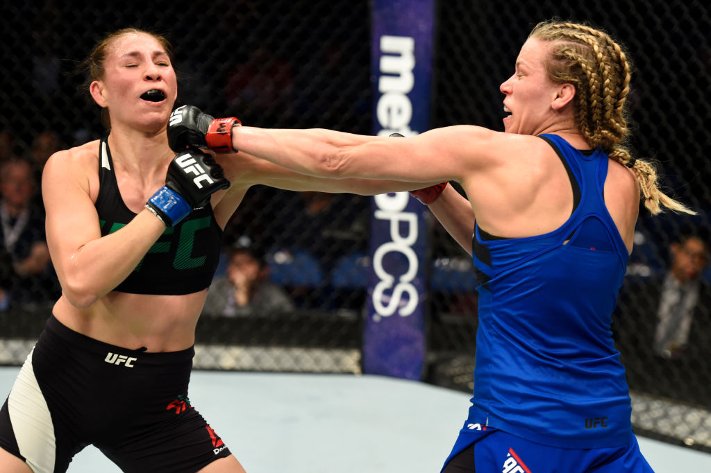 BUFFALO, NY - APRIL 08: Katlyn Chookagian (R) lands a punch on Irene Aldana of Mexico (L) in their women's bantamweight bout during the UFC 210 event at KeyBank Center on April 8, 2017 in Buffalo, New York. (Photo by Josh Hedges/Zuffa LLC)