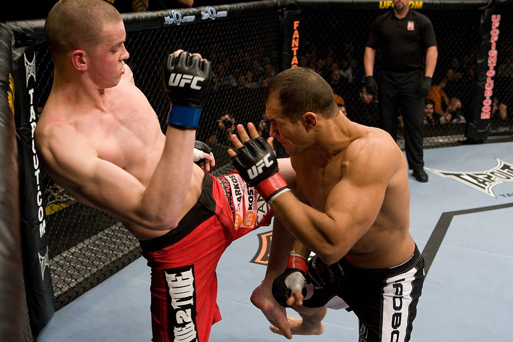 LONDON, ENGLAND - FEBRUARY 21: Junior dos Santos (black shorts) def. Stefan Struve (red shorts) - TKO - :54 round 1 during UFC 95 at 02 Arena on February 21, 2009 in London, England. (Photo by Josh Hedges/Zuffa LLC)