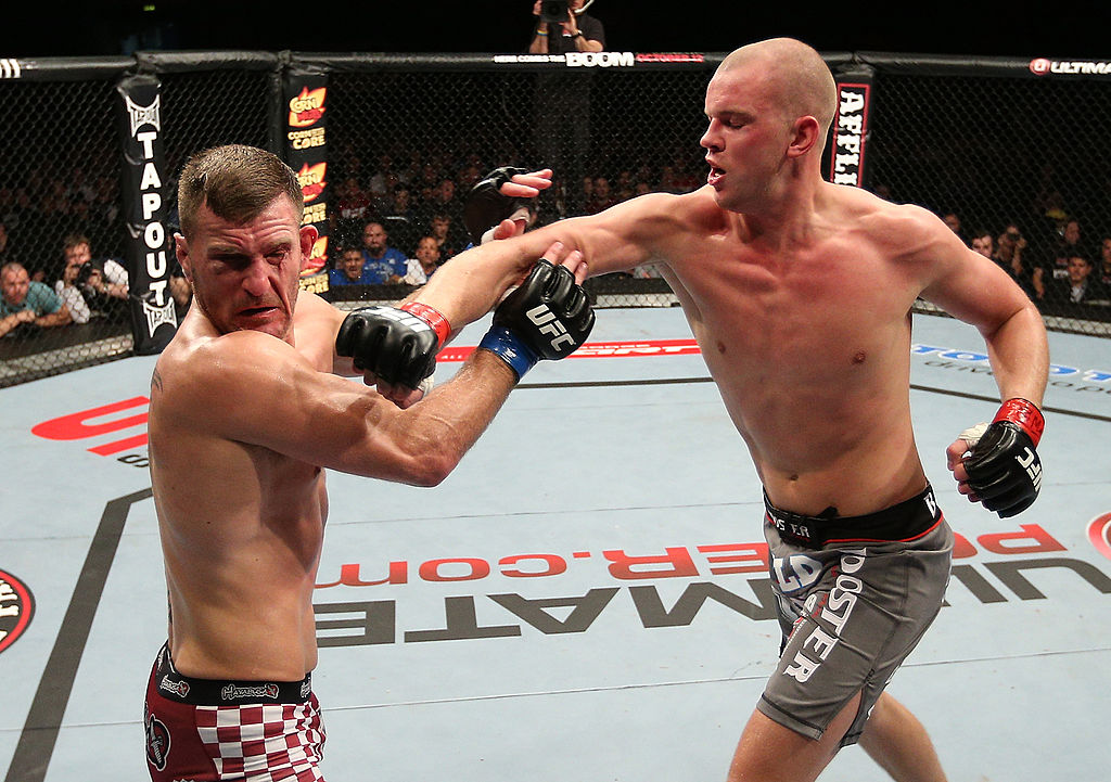 NOTTINGHAM, ENGLAND - SEPTEMBER 29: (R-L) Strefan Struve punches Stipe Miocic during their heavyweight fight at the UFC on Fuel TV event at Capital FM Arena on September 29, 2012 in Nottingham, England. (Photo by Josh Hedges/Zuffa LLC)