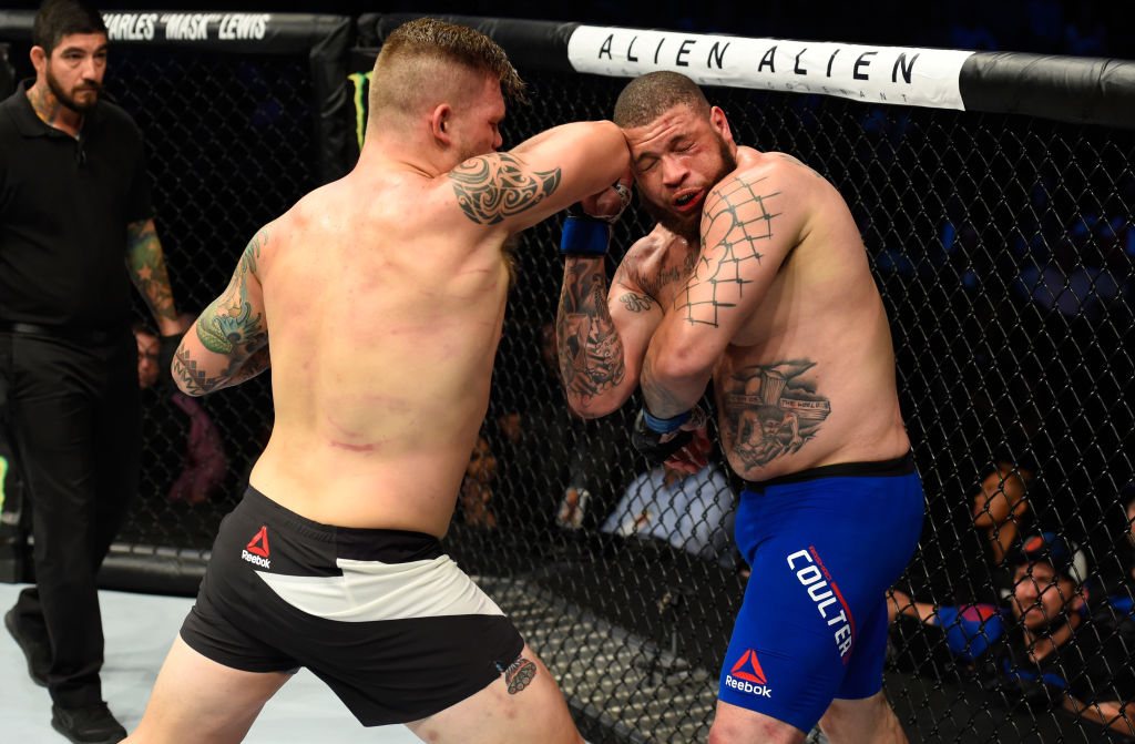 DALLAS, TX - MAY 13:  (L-R) Chase Sherman elbows Rashad Coulter in their heavyweight fight during the UFC 211 event at the American Airlines Center on May 13, 2017 in Dallas, Texas. (Photo by Josh Hedges/Zuffa LLC)