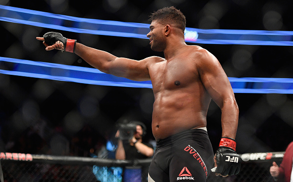 Alistair Overeem reacts to his victory over Mark Hunt of in their heavyweight bout during UFC 209  on March 4, 2017 in Las Vegas, Nevada. (Photo by Jeff Bottari/Zuffa LLC)