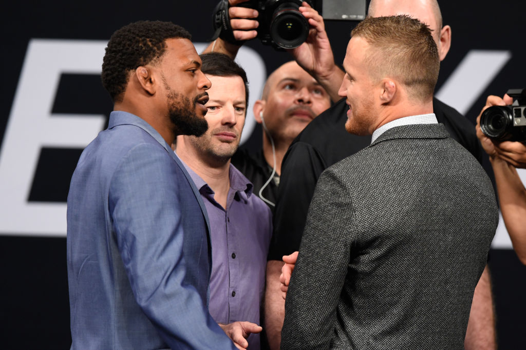Michael Johnson and Justin Gaethje face off during the UFC Summer Kickoff Press Conference at the American Airlines Center on May 12, 2017 in Dallas, Texas. (Photo by Josh Hedges/Zuffa LLC/)