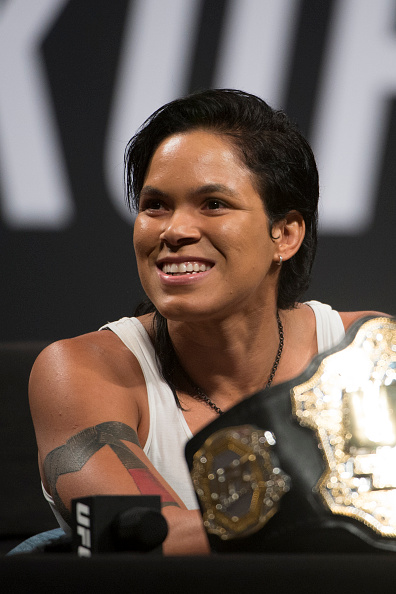 Amanda Nunes speaks to the media during the UFC Summer Kickoff Press Conference at the American Airlines Center on May 12, 2017 in Dallas, Texas. (Photo by Cooper Neill/Zuffa LLC/Zuffa LLC)