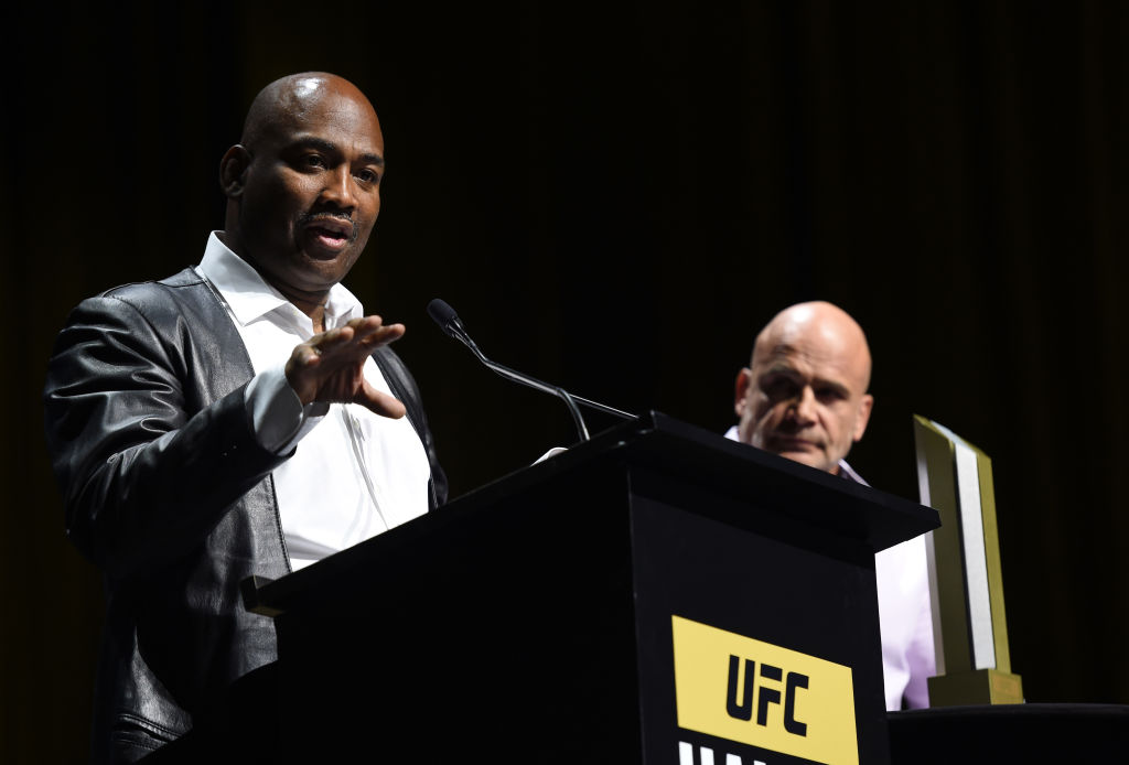 LAS VEGAS, NV - JULY 06:   (L-R) Maurice Smith accepts his award during the UFC Hall of Fame 2017 Induction Ceremony at the Park Theater on July 6, 2017 in Las Vegas, Nevada. (Photo by Brandon Magnus/Zuffa LLC)