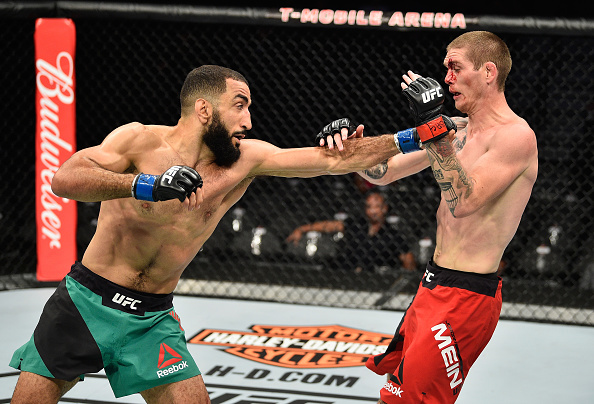 LAS VEGAS, NV - JULY 08:  (L-R)  Belal Muhammad punches Jordan Mein in their welterweight bout during the UFC 213 event at T-Mobile Arena on July 8, 2017 in Las Vegas, Nevada.  (Photo by Jeff Bottari/Zuffa LLC/Zuffa LLC via Getty Images)