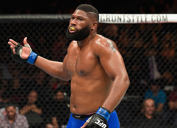 LAS VEGAS, NV - JULY 08:  Curtis Blaydes celebrates his victory over Daniel Omielanczuk of Poland in their heavyweight bout during the UFC 213 event at T-Mobile Arena on July 8, 2017 in Las Vegas, Nevada.  (Photo by Josh Hedges/Zuffa LLC/Zuffa LLC via Getty Images)