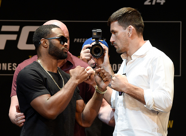 LOS ANGELES, CA - JULY 26: Tyron Woodley (L) and Demian Maia face off during the UFC 214 Press Conference at The Novo by Microsoft July 26, 2017, in Los Angeles, California. (Photo by Kevork Djansezian/Zuffa LLC )