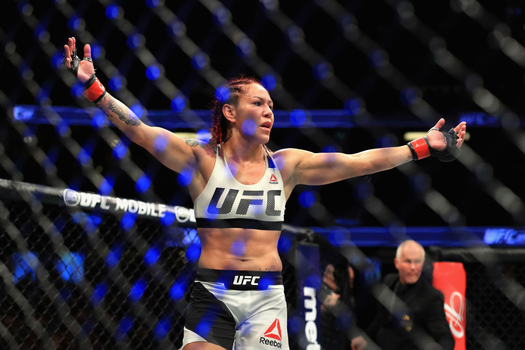 ANAHEIM, CA - JULY 29:  <a href='../fighter/Cris-Cyborg'>Cris Cyborg</a> of Brazil reacts to defeating <a href='../fighter/Tonya-Evinger'>Tonya Evinger</a> during their Featherweight Title fight  at UFC 214 at Honda Center on July 29, 2017 in Anaheim, California.  (Photo by Sean M. Haffey/Getty Images)