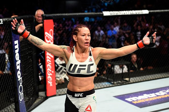 ANAHEIM, CA - JULY 29:  Cris Cyborg of Brazil reacts after defeating Tonya Evinger by TKO in their UFC women's featherweight championship bout during the UFC 214 event at Honda Center on July 29, 2017 in Anaheim, California. (Photo by Josh Hedges/Zuffa LLC/Zuffa LLC via Getty Images)