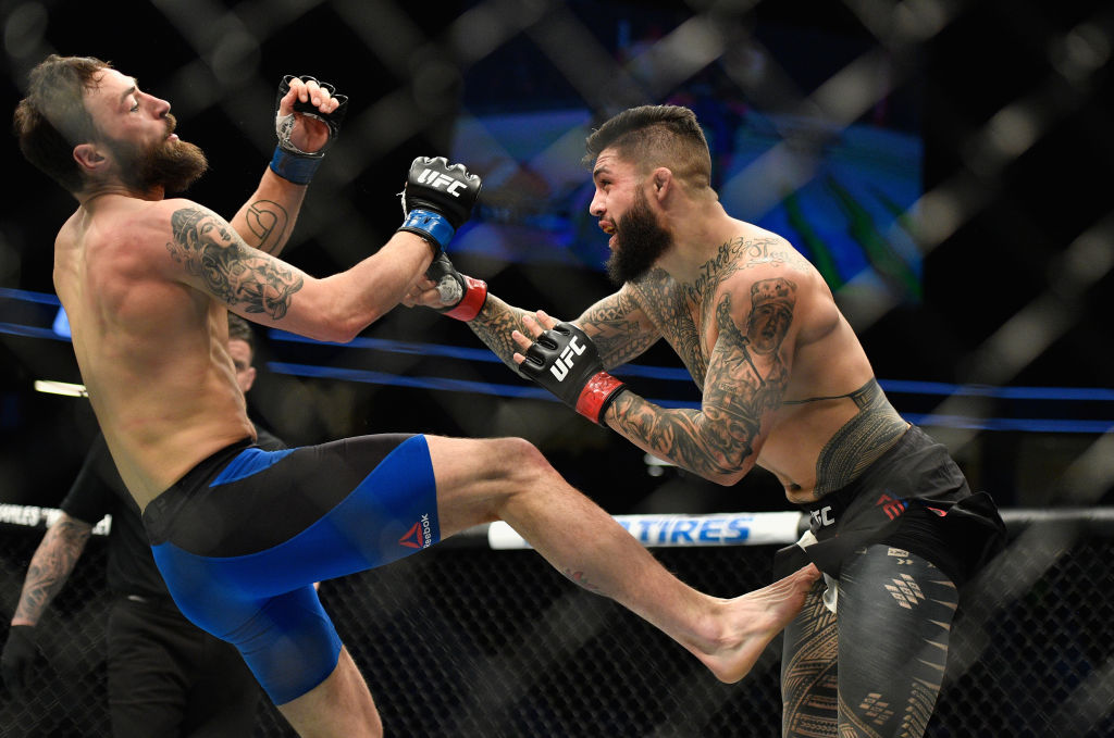 LAS VEGAS, NV - MARCH 04: (R-L) <a href='../fighter/tyson-pedro'>Tyson Pedro</a> of Australia punches Paul Craig of Scotland in their light heavyweight bout during the UFC 209 event at T-Mobile Arena on March 4, 2017 in Las Vegas, Nevada.  (Photo by Jeff Bottari/Zuffa LLC)