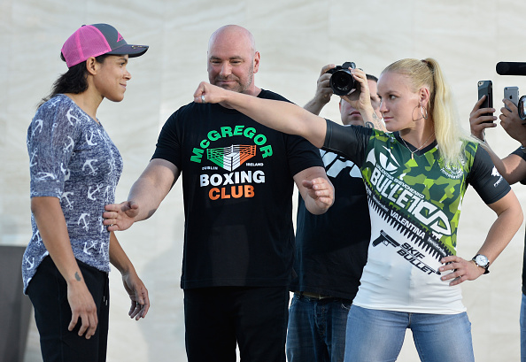 LAS VEGAS, NV - AUGUST 24: (L-R) Opponents Amanda Nunes of Brazil and Valentina Shevchenko of Kyrgyzstan face off during the UFC 215 & UFC 216 Title Bout Participants Las Vegas Media Day at the UFC Headquarters on August 24, 2017 in Las Vegas, Nevada. (Photo by Brandon Magnus/Zuffa LLC)