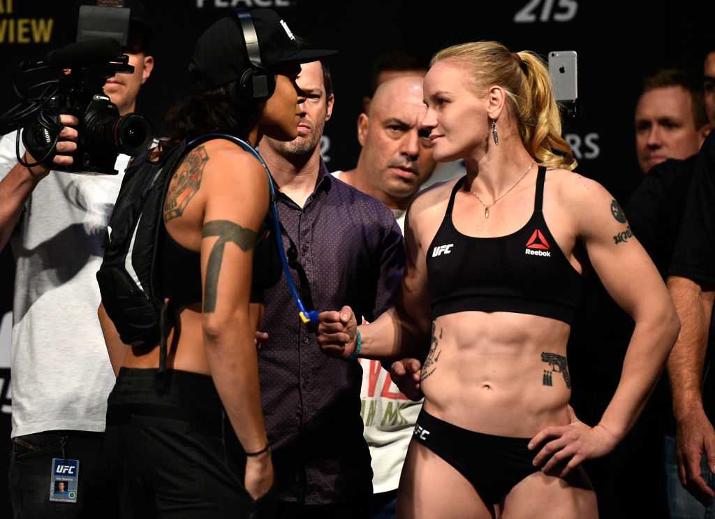 EDMONTON, AB - SEPTEMBER 08:  (L-R) Opponents Amanda Nunes of Brazil and Valentina Shevchenko of Kyrgyzstan face-off during the UFC 215 weigh-in inside the Rogers Place on September 8, 2017 in Edmonton, Alberta, Canada. (Photo by Jeff Bottari/Zuffa LLC)