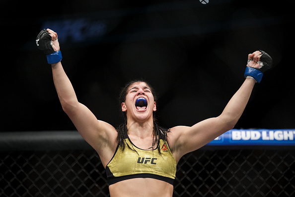 EDMONTON, AB - SEPTEMBER 09:  Ketlen Vieira celebrates her victory against Sara McMann during UFC 215 at Rogers Place on September 9, 2017 in Edmonton, Canada. (Photo by Codie McLachlan/Getty Images)