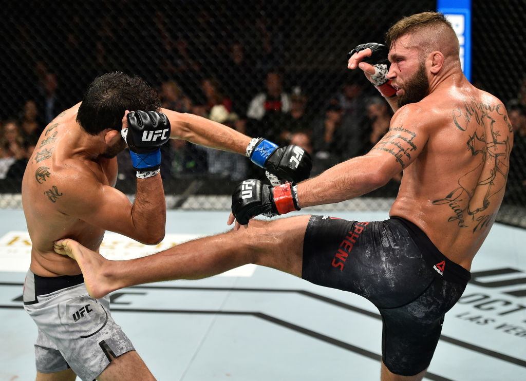 Jeremy Stephens kicks Gilbert Melendez during their bout at UFC 215