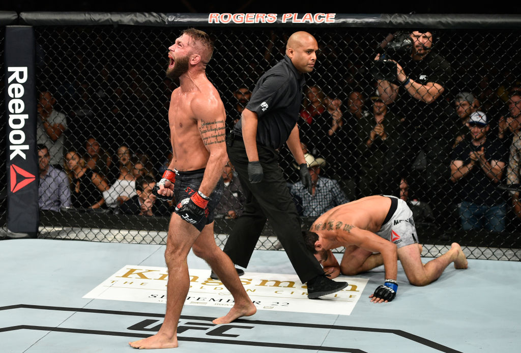 Jeremy Stephens screams after facing <a href='../fighter/Gilbert-Melendez'>Gilbert Melendez</a> during UFC 215 event on September 9, 2017 in Edmonton, Alberta, Canada. (Photo by Jeff Bottari/Zuffa LLC)