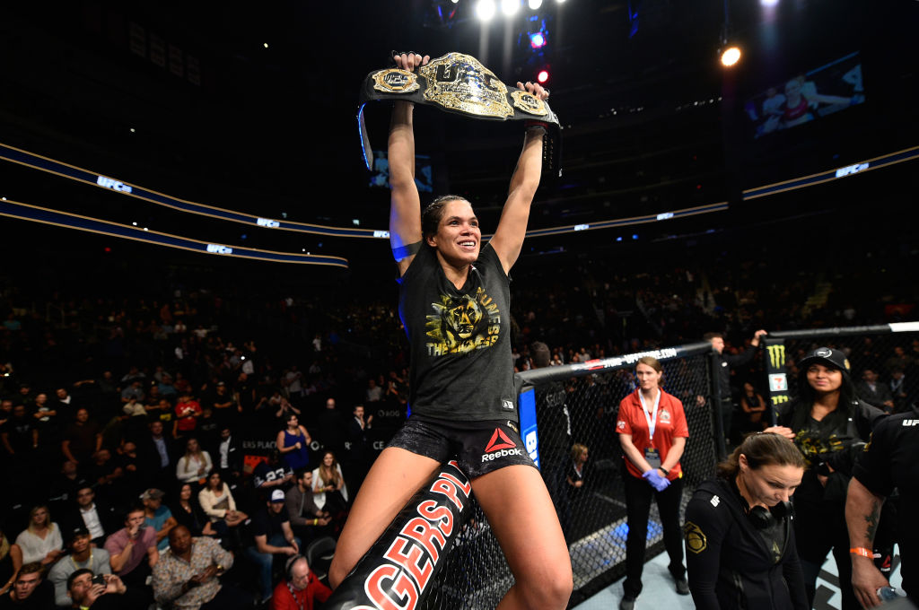 EDMONTON, AB - SEPTEMBER 09: <a href='../fighter/Amanda-Nunes'>Amanda Nunes</a> of Brazil celebrates her victory over <a href='../fighter/Valentina-Shevchenko'>Valentina Shevchenko</a> of Kyrgyzstan in their women's bantamweight bout during the UFC 215 event inside the Rogers Place on September 9, 2017 in Edmonton, Alberta, Canada. (Photo by Jeff Bottari/Zuffa LLC)