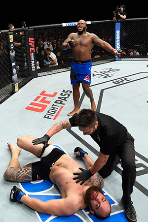 HALIFAX, NS - FEBRUARY 19: <a href='../fighter/Derrick-Lewis'>Derrick Lewis</a> (top) celebrates after defeating <a href='../fighter/Travis-Browne'>Travis Browne</a> in their heavyweight fight during the <a href='../event/UFC-Silva-vs-Irvin'>UFC Fight Night </a>event inside the Scotiabank Centre on February 19, 2017 in Halifax, Nova Scotia, Canada. (Photo by Josh Hedges/Zuffa LLC/Zuffa LLC via Getty Images)