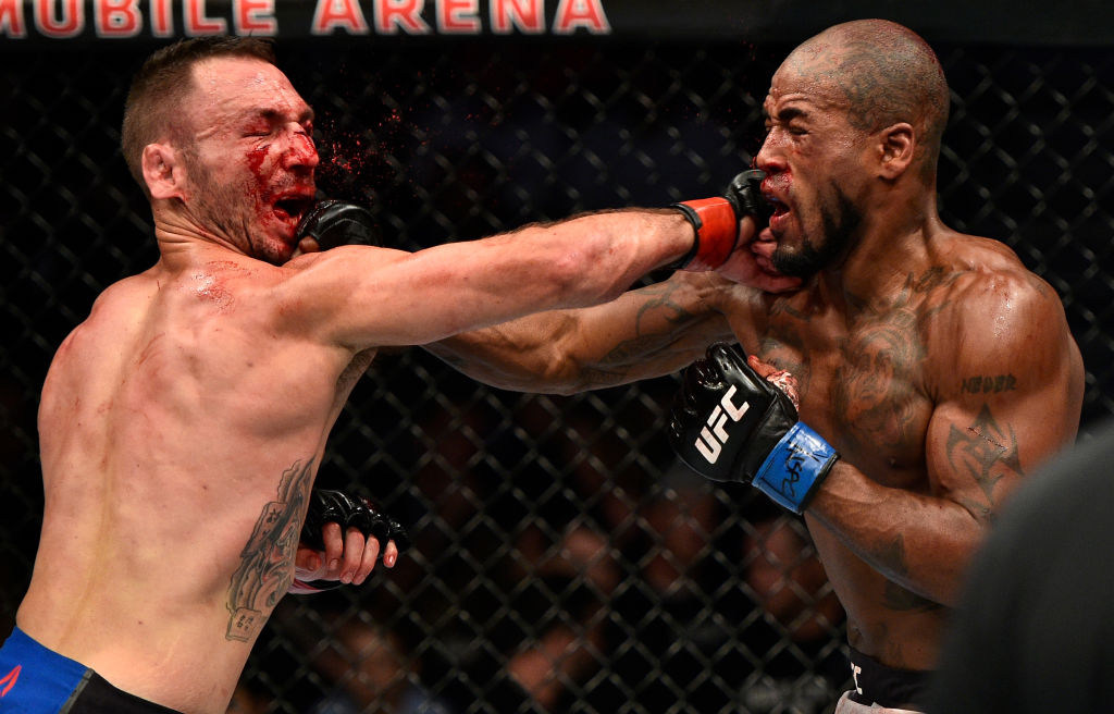 Lando Vannata and Bobby Green exchange punches during their fight at UFC 216
