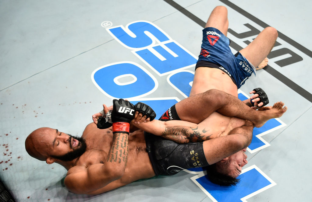 LAS VEGAS, NV - OCTOBER 07: Demetrious Johnson secures an arm bar submission against Ray Borg in their UFC flyweight championship bout during the UFC 216 event inside T-Mobile Arena on October 7, 2017 in Las Vegas, Nevada. (Photo by Jeff Bottari/Zuffa LLC)
