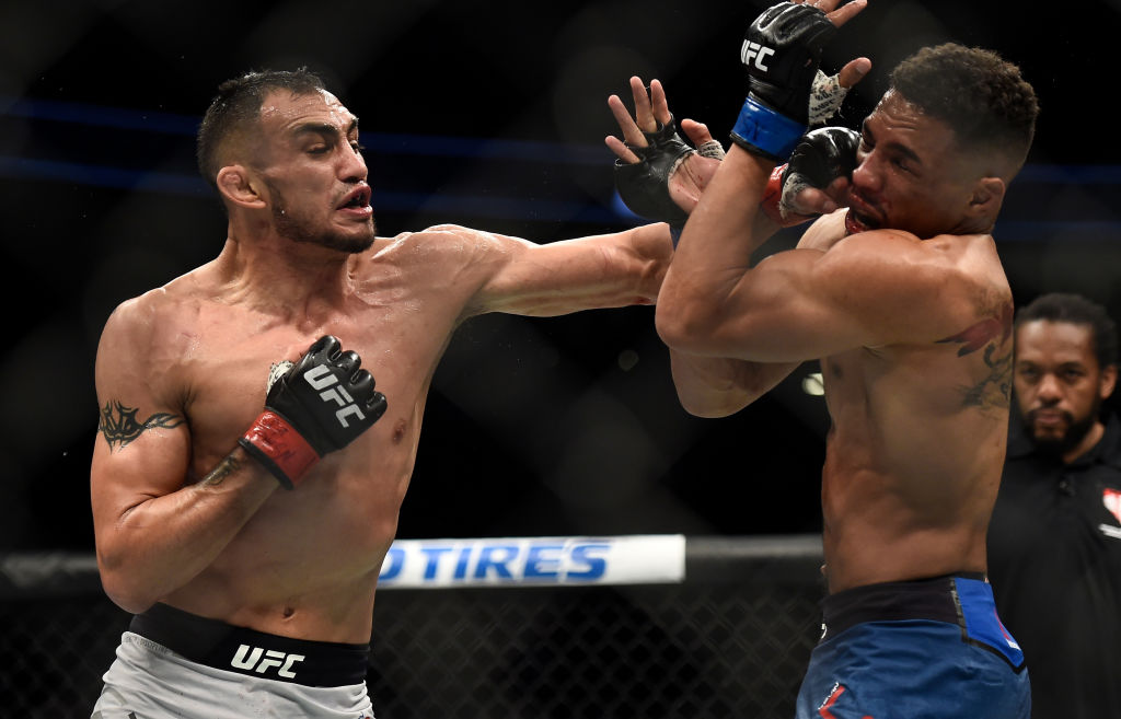 LAS VEGAS, NV - OCTOBER 07:   (L-R) Tony Ferguson punches Kevin Lee in their interim UFC lightweight championship bout during the UFC 216 event inside T-Mobile Arena on October 7, 2017 in Las Vegas, Nevada. (Photo by Brandon Magnus/Zuffa LLC)