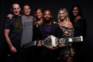 UFC flyweight champion Demetrious Johnson poses for a portrait backstage with his family and team after his victory over Ray Borg during the UFC 216 event inside TMobile Arena on October 7, 2017 in Las Vegas, Nevada. (Photo by Mike Roach/Zuffa LLC)