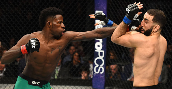 <a href='../fighter/Randy-Brown'>Randy Brown</a> of Jamaica punches <a href='../fighter/Belal-Muhammad'>Belal Muhammad</a> in their welterweight bout during the UFC 208 event inside Barclays Center on February 11, 2017 in Brooklyn, New York. (Photo by Jeff Bottari/Zuffa LLC)