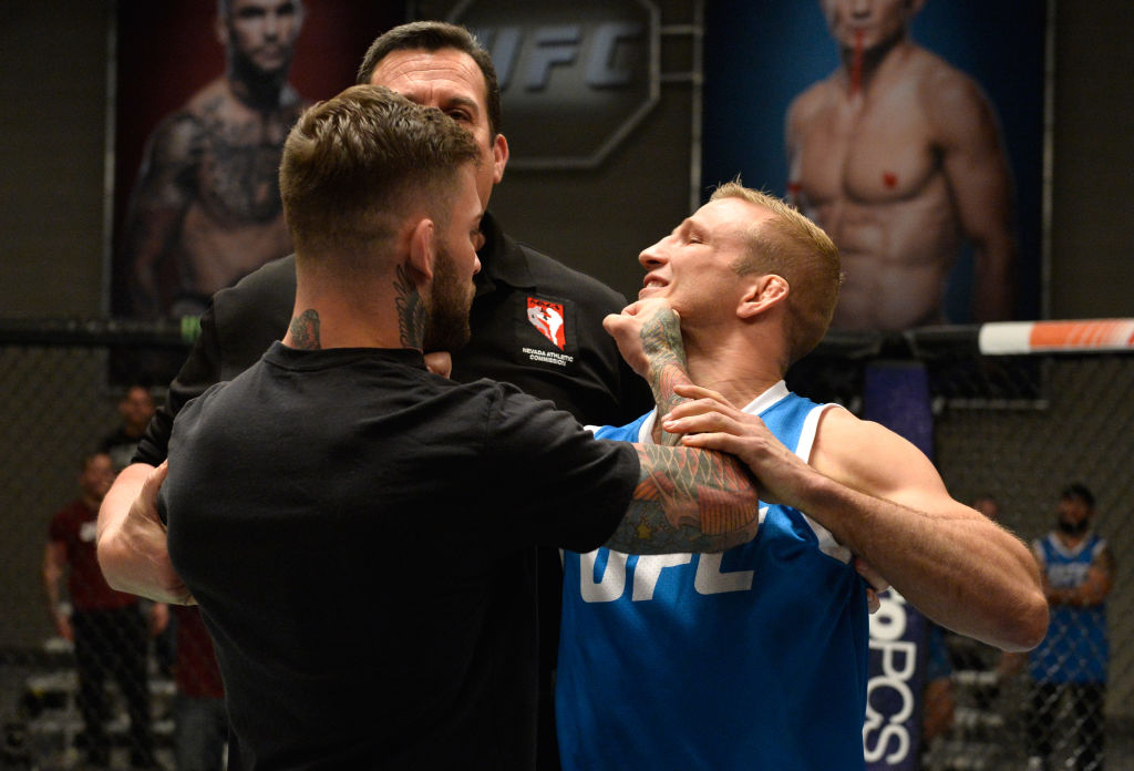 LAS VEGAS, NV - MARCH 01: (L-R) UFC bantamweight champion Cody Garbrandt and TJ Dillashaw face off during the filming of The Ultimate Fighter: Redemption at the UFC TUF Gym. (Photo by Brandon Magnus/Zuffa LLC)