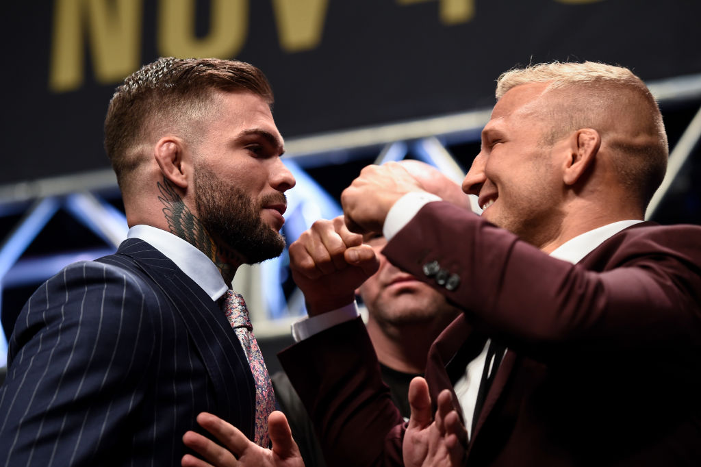 (L-R) Opponents <a href='../fighter/cody-garbrandt'>Cody Garbrandt</a> and <a href='../fighter/TJ-Dillashaw'>TJ Dillashaw</a> face off during the UFC 217 news conference inside T-Mobile Arena on October 6, 2017 in Las Vegas, Nevada. (Photo by Brandon Magnus/Zuffa LLC)