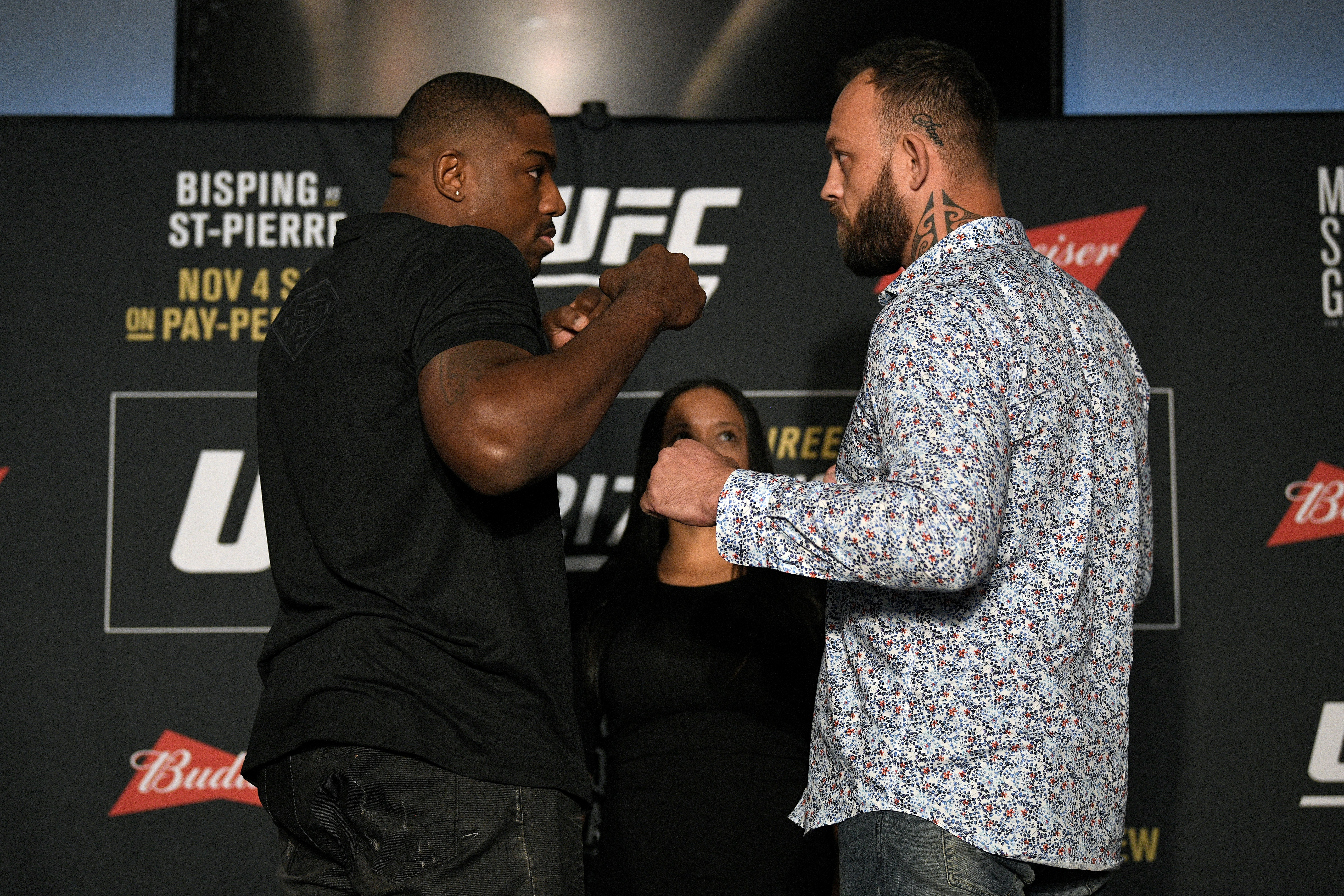 NEW YORK, NY - NOVEMBER 01: (L-R) Opponents Walt Harris and <a href='../fighter/mark-godbeer'><a href='../fighter/mark-godbeer'>Mark Godbeer</a></a> of England face off during the UFC 217 <a href='../event/<a href='../event/Ultimate-Brazil'>Ultimate-</a>Brazil'>Ultimate </a>Media Day inside the Theater Lobby at Madison Square Garden on November 1, 2017 in New York City. (Photo by Jeff Bottari/Zuffa LLC/Zuffa LLC via Getty Images)