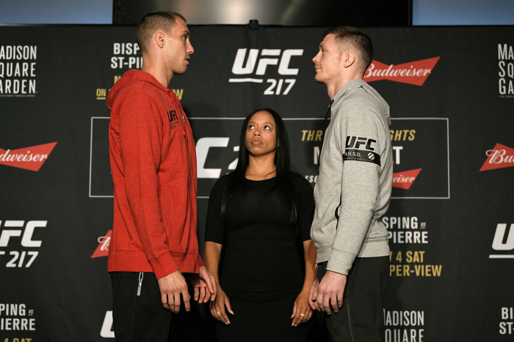 NEW YORK, NY - NOV. 01:  (L-R) Opponents James Vick and Joe Duffy face off during the UFC 217 Ultimate Media Day inside the Theater Lobby at Madison Square Garden. (Photo by Jeff Bottari/Zuffa LLC)
