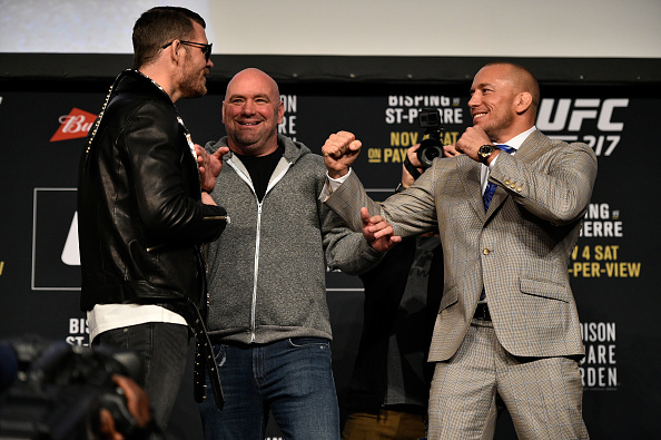 NEW YORK, NY - NOVEMBER 02: (L-R) Opponents Michael Bisping of England and Georges St-Pierre of Canada face off during the UFC 217 Press Conference inside Madison Square Garden on November 2, 2017 in New York City. (Photo by Jeff Bottari/Zuffa LLC/Zuffa LLC via Getty Images)
