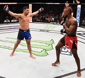 Drakkar Klose taunts Marc Diakiese of England in their lightweight bout during <a href='../event/The-Ultimate-Fighter-T-Rampage-vs-T-Forrest-Finale'><a href='../event/The-Ultimate-Fighter-Finale-Team-Nog-vs-Team-Mir'><a href='../event/The-Ultimate-Fighter-Team-Liddell-vs-Team-Ortiz-FINALE'><a href='../event/TUF13-finale'><a href='../event/the-ultimate-fighter-a-champion-will-be-crowned'>The Ultimate Fighter Finale </a></a></a></a></a>at T-Mobile Arena on July 7, 2017 in Las Vegas, Nevada. (Photo by Brandon Magnus/Zuffa LLC)
