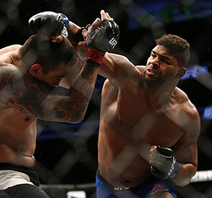 Alistair Overeem punches <a href='../fighter/Fabricio-Werdum'>Fabricio Werdum</a> during the UFC 213 event at T-Mobile Arena on July 9, 2017 in Las Vegas, Nevada. (Photo by Rey Del Rio/Getty Images)