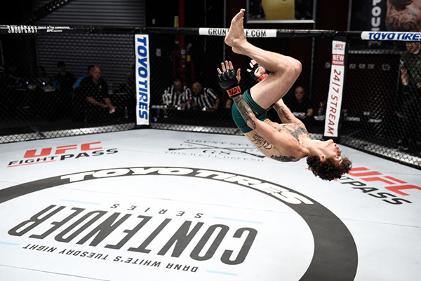 &lt;a href='../fighter/Sean-O-Malley'&gt;<a href='../fighter/Sean-O-Malley'>Sean O'Malley</a>&lt;/a&gt; does a backflip as he celebrates his knockout victory over &lt;a href='../fighter/Alfred-Khashakyan'&gt;<a href='../fighter/Alfred-Khashakyan'>Alfred Khashakyan</a>&lt;/a&gt; in their bantamweight bout during Dana White's Tuesday Night Contender Series at the TUF Gym on July 18, 2017 in Las Vegas, Nevada. (Photo by Brandon Magnus/DWTNCS)