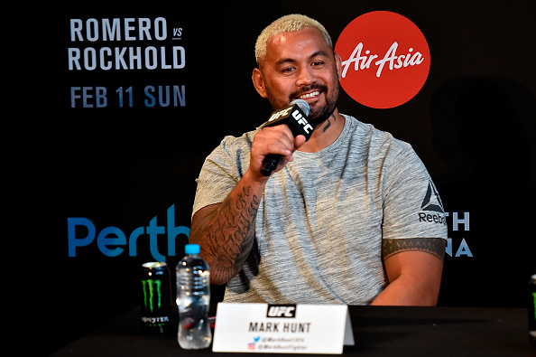 PERTH, AUSTRALIA - FEBRUARY 07: Mark Hunt of New Zealand speaks to the media during the UFC 221 Press Conference at Perth Arena on February 7, 2018 in Perth, Australia. (Photo by Jeff Bottari/Zuffa LLC/Zuffa LLC via Getty Images)
