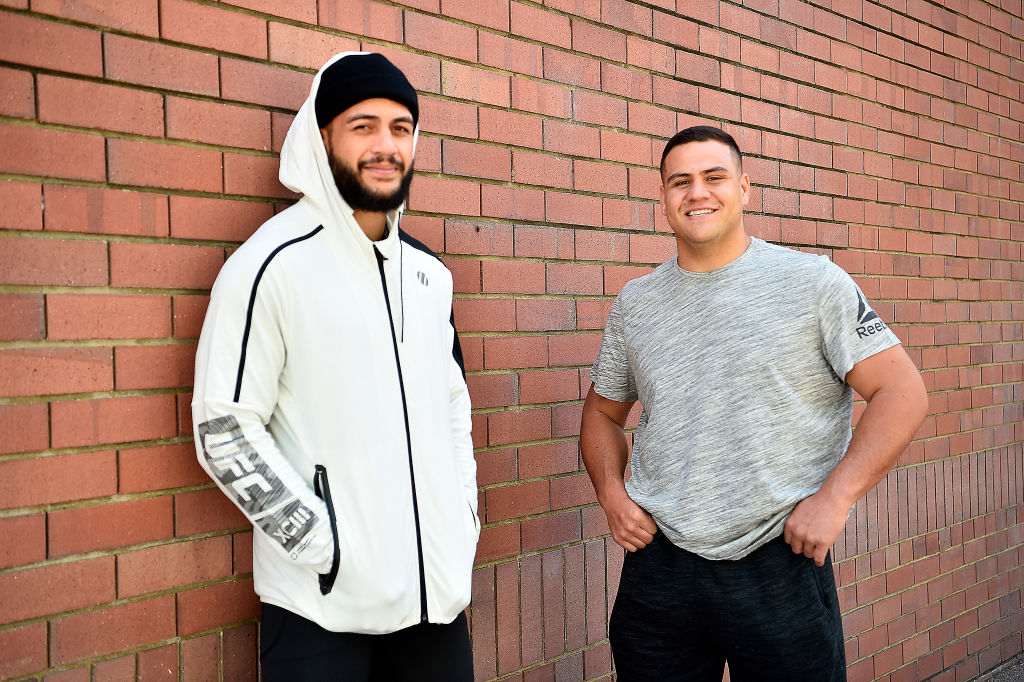PERTH, AUSTRALIA - FEBRUARY 09: (L-R) Tyson Pedro of Australia and Tai Tuivasa of Australia pose for a portrait during a UFC photo session on February 9, 2018 in Perth, Australia. (Photo by Jeff Bottari/Zuffa LLC/Zuffa LLC via Getty Images)