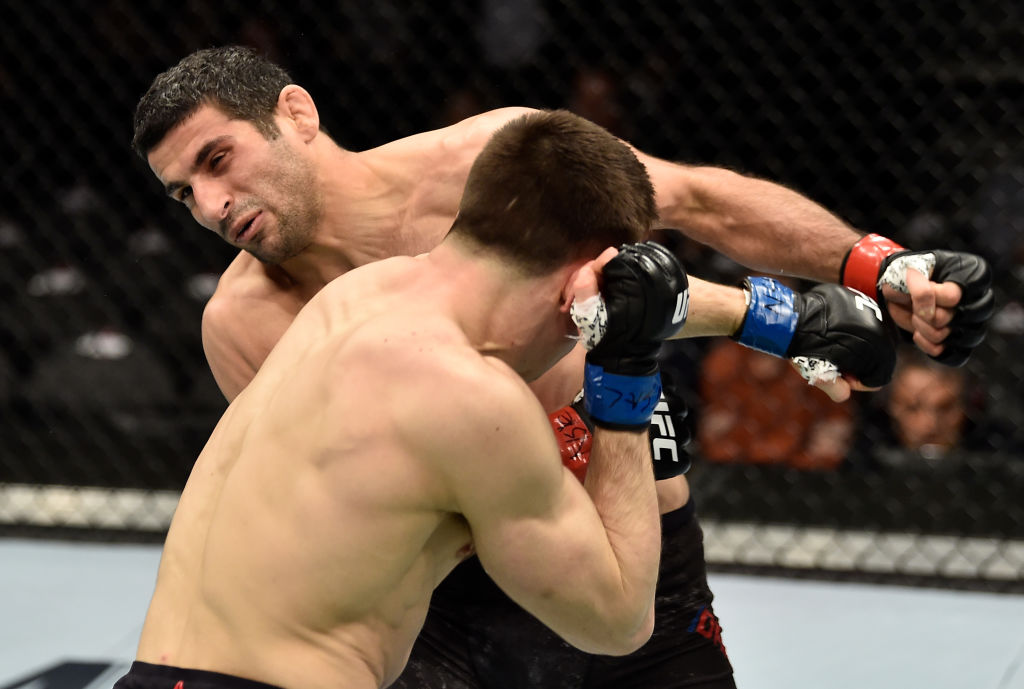 LAS VEGAS, NV - MARCH 03: <a href='../fighter/Alexander-Hernandez'>Alexander Hernandez</a> knocks out <a href='../fighter/Beneil-Dariush'>Beneil Dariush</a> of Iran in their lightweight bout during the UFC 222 event inside T-Mobile Arena on March 3, 2018 in Las Vegas, Nevada. (Photo by Jeff Bottari/Zuffa LLC/Zuffa LLC via Getty Images)